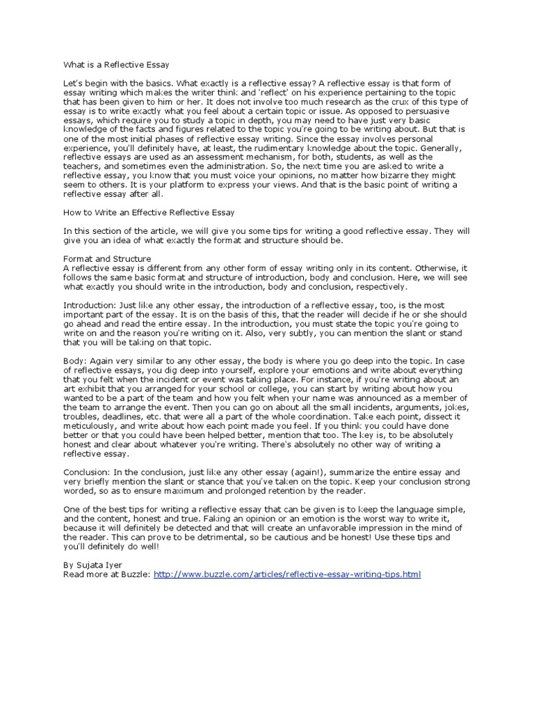 reflective essay introduction reflective essay template