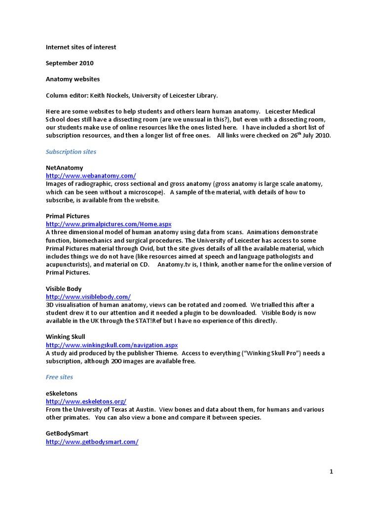 Anatomy Websites Anatomy Human Body
