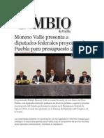 11-11-2013 Diario Matutino Cambio de Puebla - Moreno Valle Presenta a Diputados Federales Proyectos de Puebla Para Presupuesto 2014