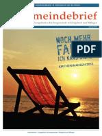 Gemeindebrief 2013 08 Sommer - 11. Ausgabe