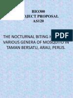 THE NOCTURNAL BITING HABITS OF VARIOUS GENERA OF MOSQUITO IN TAMAN BERSATU, ARAU, PERLIS. (UiTM ARAU PERLIS MALAYSIA)