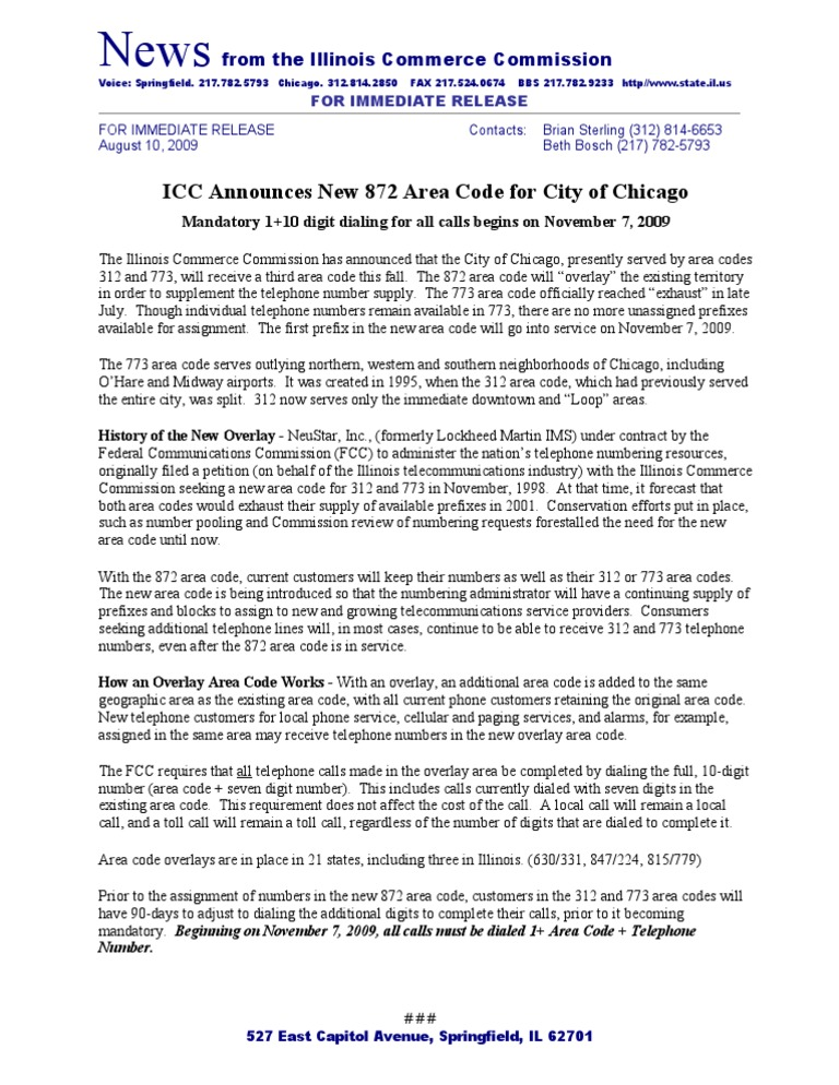 ICC announces new area code for Chicago | Telephone Numbering Plan ...