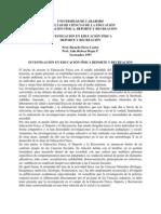 INVESTIGACIÓN EN EDUCACIÓN FÍSICA DEPORTE Y RECREACIÓN