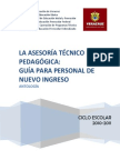 Asesoria técnico pedagógica. Guía para el personal de nuevo ingreso. Gobierno del estado de Veracruz. 2011