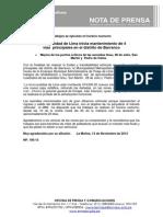 NP. 106-13 Municipalidad de Lima inicia mantenimiento de 4 vías principales en el distrito de Barranco