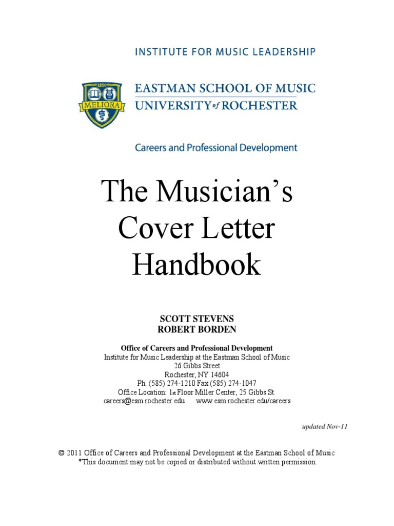 Cover Letter Guide from Eastman School of Music | Résumé | Music ...