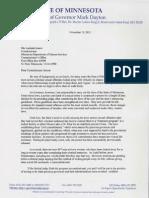 Letter from Gov. Mark Dayton to DHS Commissioner Lucinda Jesson