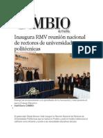 12-11-2013 Diario Matutino Cambio de Puebla - Inaugura RMV reunión nacional de rectores de universidades politécnicas