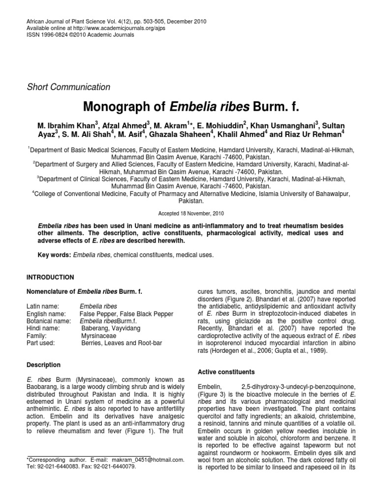 13 Embelia Ribes | Combined Oral Contraceptive Pill | Ethanol