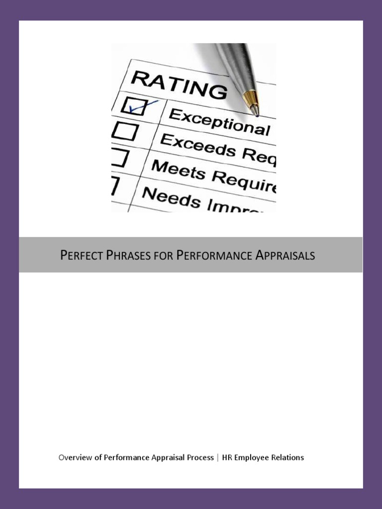 Perfect Phrases For Performance Appraisals Pdf Performance