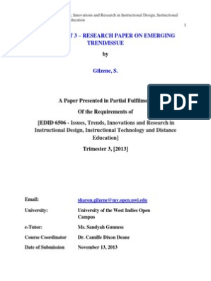 Gilzenss Edid 6506 Assignment 3 Research Paper Distance Education Videoconferencing Free 30 Day Trial Scribd