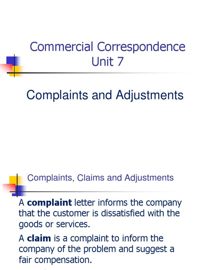 Cc Unit 7 Complaints And Adjustments Business