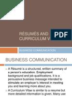 resums and curriculum vitae