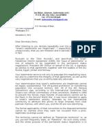Letter from Alan Baker to John Kerry