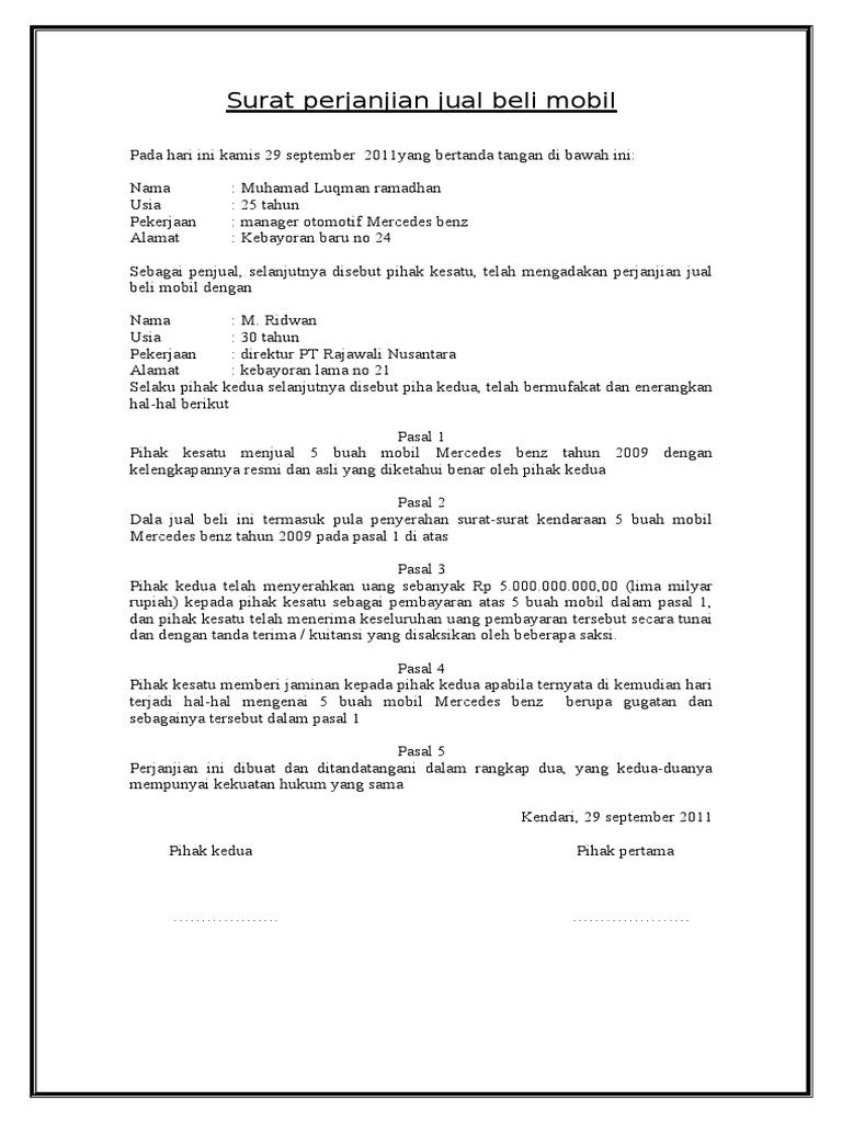 Surat Perjanjian Jual Beli Mobil Doc