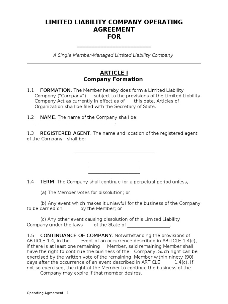 Single Member Llc Operating Agreement Limited Liability Company