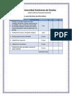 Rubrica de Evaluación para terminos de informatica