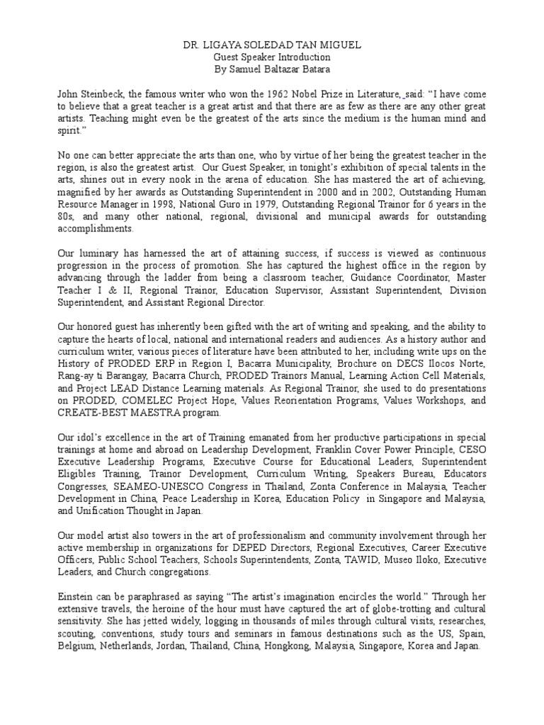 DR. LIGAYA SOLEDAD TAN MIGUEL Guest Speaker Introduction ...