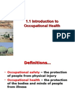 1.1 Introduction to Occupational Health