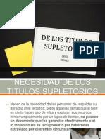 De Los Titulos Supletorios