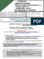 Aviso Proceso Firma Pagarés  Fondo Solidario Créd. Directo 2do Sem. 2013