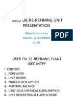 Re Refining Used Oil of 1000 Klpa Capacity