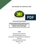 TESIS EDUCACION TÉCNICAS GRUPALES PARA EL DESARROLLO  DEL AUTOESTIMA EN ESTUDIANTES DEL TERCER GRADO
