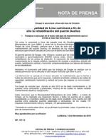NP. 107 -13 Municipalidad de Lima culminará a fin de año la rehabilitación del Puente Dueñas