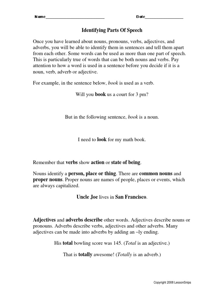 Worksheet Identifying Adverbs identifypartspeech pdf adjective adverb