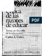CULLEN Carlos, Critica de Las Razones de Educar (Introduccion y Epilogo)
