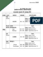 Calendrier Des Rattrapages Automne 2012 F 5 1