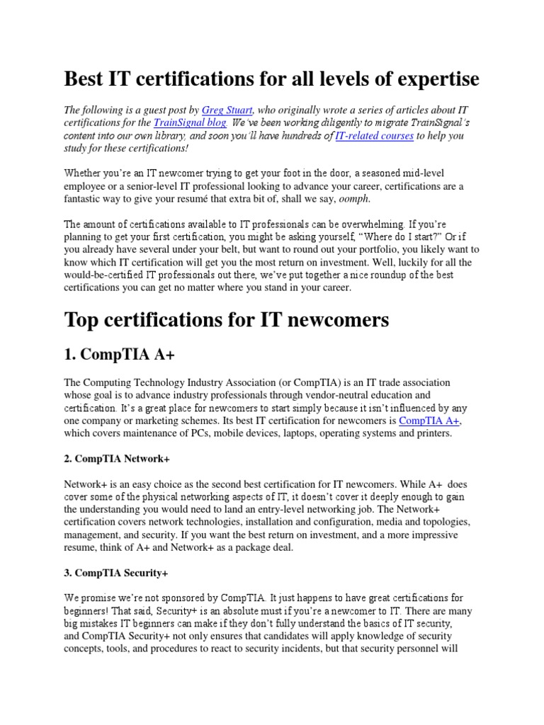 Best It Certifications For All Levels Of Expertise Comp Tia
