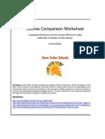 Secondary School Course comparison Worksheet