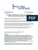 STATEMENT FROM GLOBAL GATEWAY ALLIANCE ON LOS ANGELES INTERNATIONAL AIRPORT SHOOTING