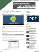 ¿Que necesito para desarrollar en Android_ - Desarrolladores de Videojuegos
