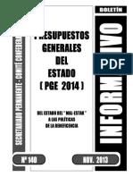 Boletin 140 Presupuestos Generales Estado 2014