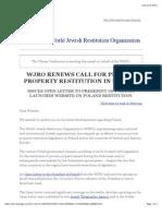 WJRO Renews Call for Polish Property Restitution