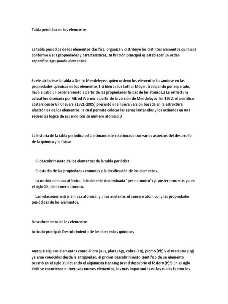 tabla peridica de los elementosdocx - Tabla Periodica De Los Elementos Masa Atomica