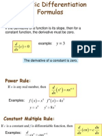 2.3 and 2.4 Differentiation Formulas
