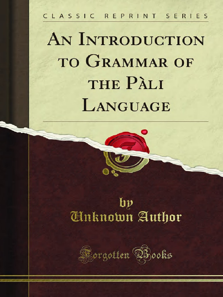 An Introduction To Grammar Of The Pali Language