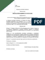 Resolucion 1164 de 2002 Por La Cual Se Crea El Manual de Procedimientos Para La Girhs.