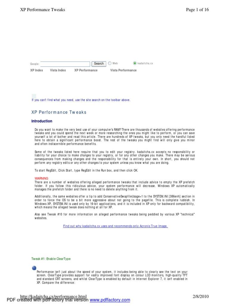 Tuning Windows Xp | Windows Registry | Windows Xp