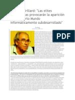 Jean Baudrillard. Entrevista. El cuarto mundo informáticamente subdesarrollado