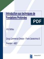 1 Techniques de Fondations Profondes M Bottiau