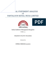 Financial Statement Analysis - Pantaloon Retail India