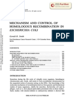 Mechanism and Control of Homologous Recombination in e Coli
