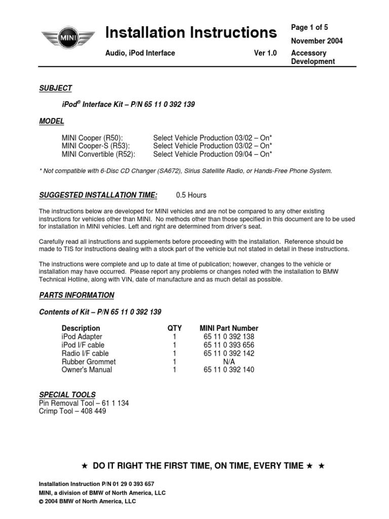 65 11 0 392 139 mini ipod instructions i pod electrical connector rh scribd com Vintage Radio Manuals Radio Repair Manuals