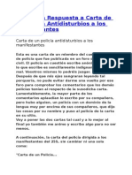 Respuesta a carta de un policía 3,10,2012