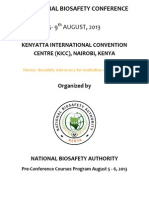 2nd Annual National Biosafety Pre-conference Programme 5-6 August 2013
