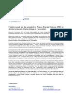 Frédéric Lanoë est élu président de FEE et dévoile la nouvelle Charte éthique de l'association